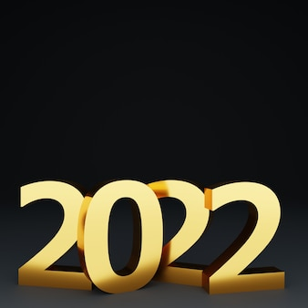3d realistic new year with gold number