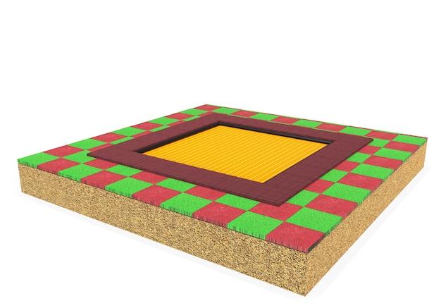 白い背景で隔離の子供のための3dリアルなパターン化された正方形のトランポリン機器