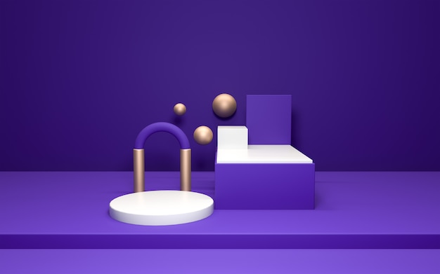 3d realistic of pedestal on purple wall with gold elements