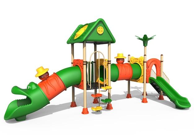 흰색 배경에 고립 된 3d 현실적인 놀이터 공원