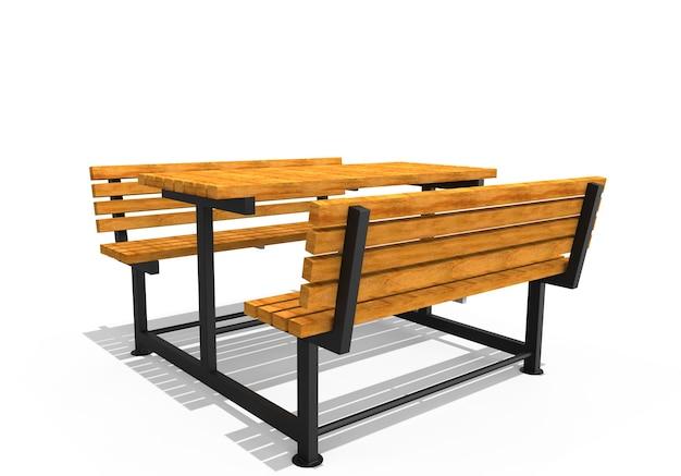 3d реалистичная визуализация садовой мебели современный деревянный стол для пикника, изолированные на белом фоне