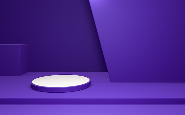 3d realistic of white pedestal on purple composition