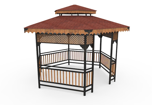 3d realistic a wooden roofed garden bench hexagonal camellia on white background