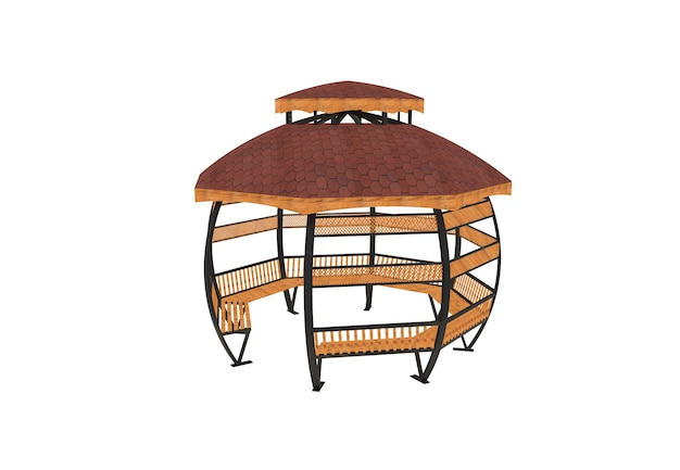 3d realistic a wooden roofed garden bench round camellia on white background