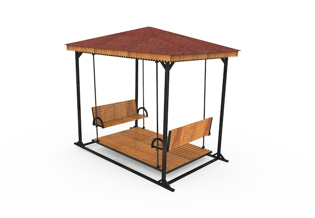 3d realistic a wooden roofed garden bench swing camellia on white background