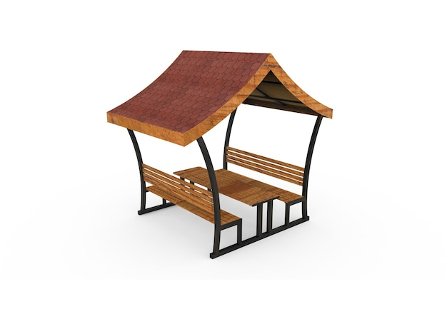 3d realistic a wooden roofed garden bench triangle roof camellia on white background