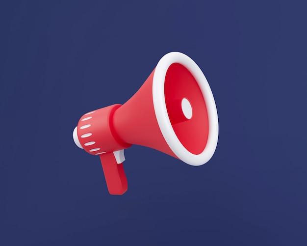 3d красный и белый трехмерный мегафон, изолированных на темно-синем фоне. публичные выступления минимальная концепция 3d визуализации