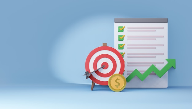 3d red archery target with check list board and money coin. marketing concept. 3d illustration rendering.