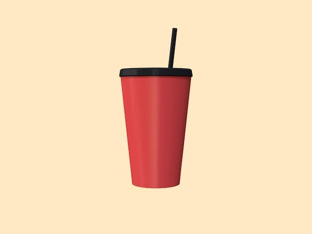 3d red black cup mock up cream 3d rendering