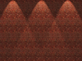 3D red brick wall with spotlights shining down