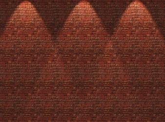 スポットライトが輝く3D赤レンガ壁