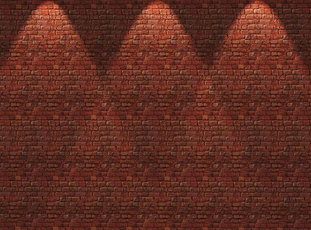 스포트 라이트가 아래로 빛나는 3d 붉은 벽돌 벽