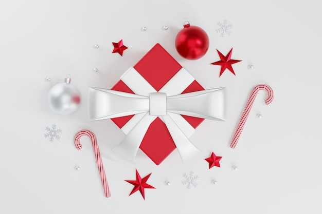 3d red christmas ball ornament with stars and candy cane