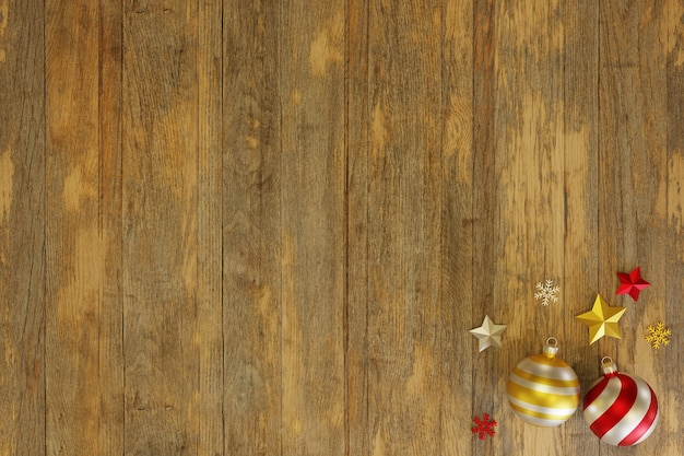 3d red christmas ball ornament with stars on wood table