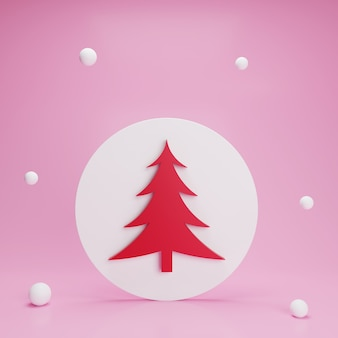 降雪の白い円ボタンの3d赤いクリスマスツリー