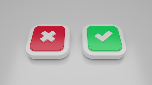 3d red cross and green check mark icon