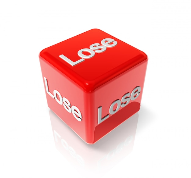 3d red dice with lose text on all sides