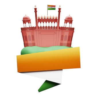 3d red fort monument with india flag and copy space on white background.