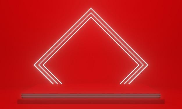 흰색 네온 불빛이 있는 3d 빨간색 기하학적 연단