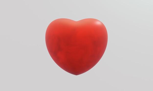 白い背景の上の3d赤いハート。愛のしるし。