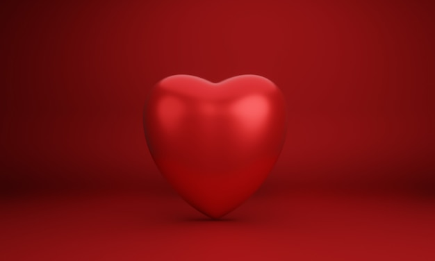 3d red heart. sign of love.