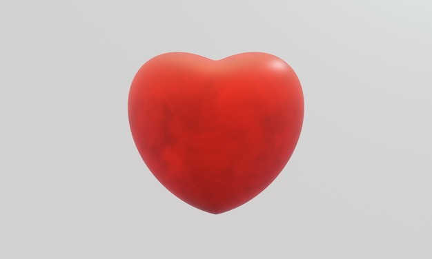3d red heart on white background. sign of love.