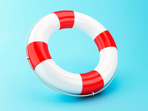 3d red life bouy on blue background.