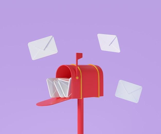 비행 봉투, 우편 배달 및 뉴스레터 개념이 있는 3d 빨간색 사서함. 3d 렌더링 그림