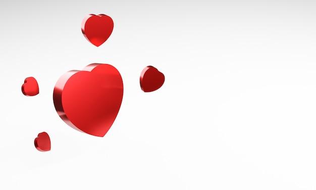 白い背景の上の3d赤い金属の心。バレンタイン・デー