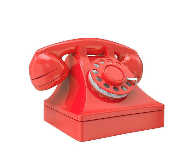 3d red old-fashioned phone isolated on white background