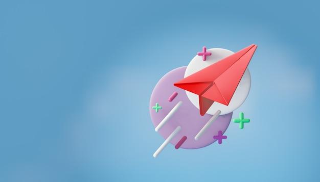 3d красный бумажный самолетик с современной графикой круга на фоне голубого неба. 3d визуализация иллюстрации.