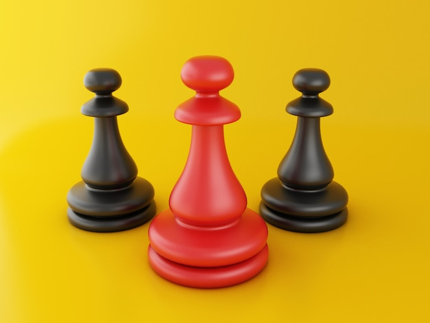 3d red pawn of chess, standing out from the crowd.