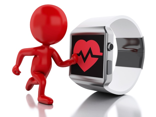 3d red people and smart watch with red health icon.