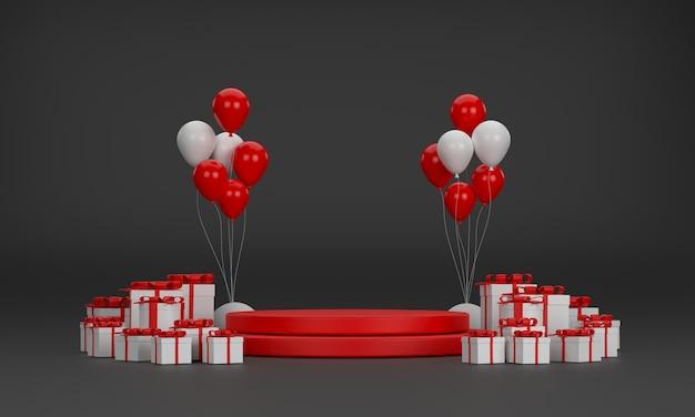 3d. красный подиум, воздушные шары, подарочная коробка, новогодняя елка на рождество и новый год на черном фоне