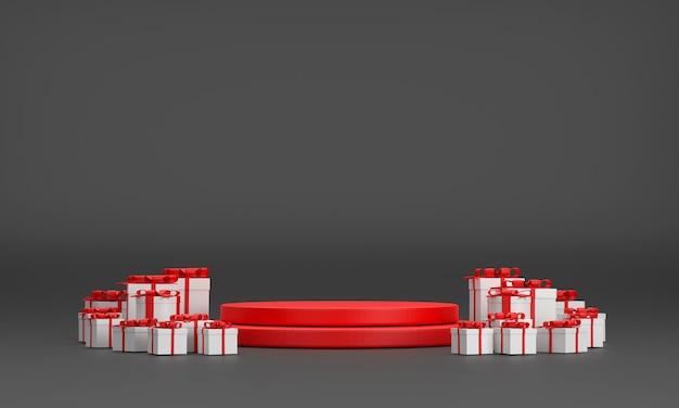 3d. красный подиум, подарочная коробка, на рождество и новый год на черном фоне