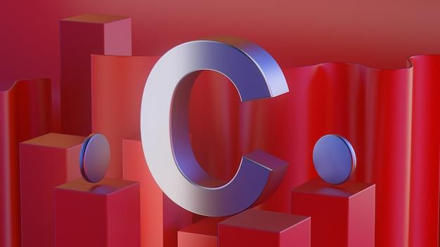 흰색 배경에 고립 된 3d 빨간색 반짝이 금속 알파벳 문자 c 프레임
