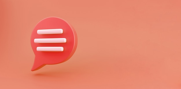 3d красный значок разговора с речевым пузырем выделен на оранжевом фоне. творческая концепция сообщения с копией пространства для текста. сообщение или комментарий символ чата. концепция минимализма. 3d визуализация иллюстрации