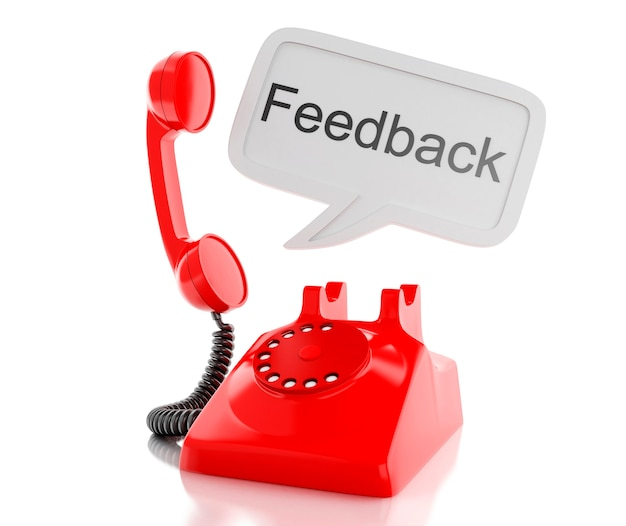 3d red telephone and speech bubble with word feedback.