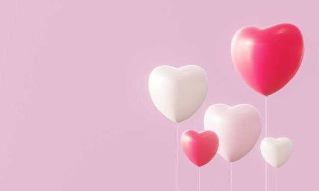 3d red and white heart balloons