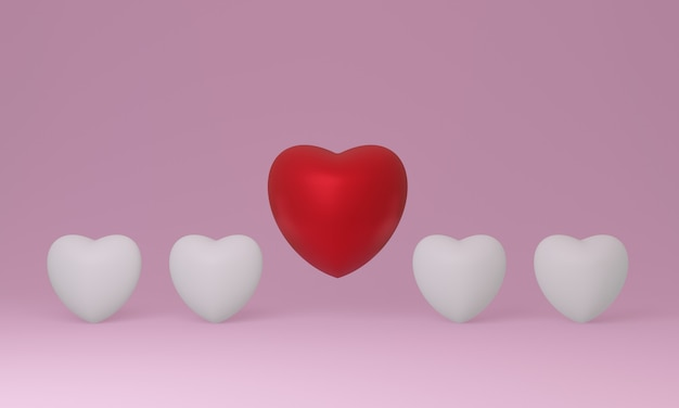 3d red and white hearts on pink background.