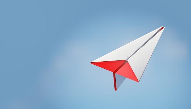 3d красный белый бумажный самолетик на фоне голубого неба. 3d визуализация иллюстрации.