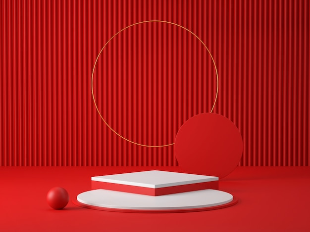 3d red and white podium on red room