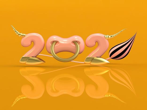 3d визуализация 2021 года с числами, копытами и кольцом в носу.