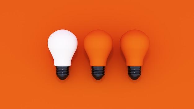 3dレンダリング。オレンジ色の背景に3つの電球。コンセプトのアイデア