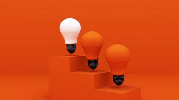 3dレンダリング。オレンジ色の階段に立っている3つの電球。オレンジ色の背景に。コンセプトのアイデア