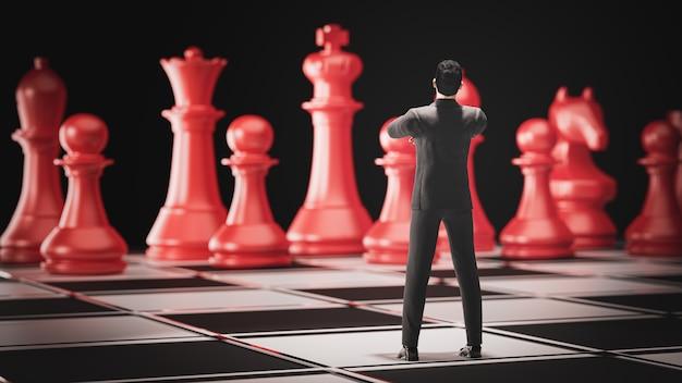 3d render.3dビジネスマンリーダーシップの概念のためのチェスボードゲームの上に立ちます。