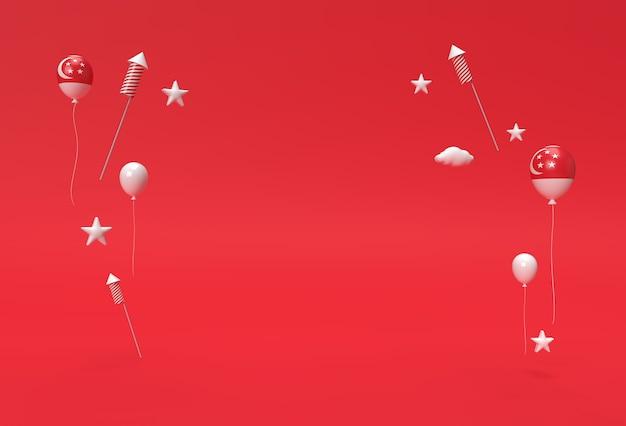 3d визуализации 9-й день независимости сингапура баннер сингапурского флага.
