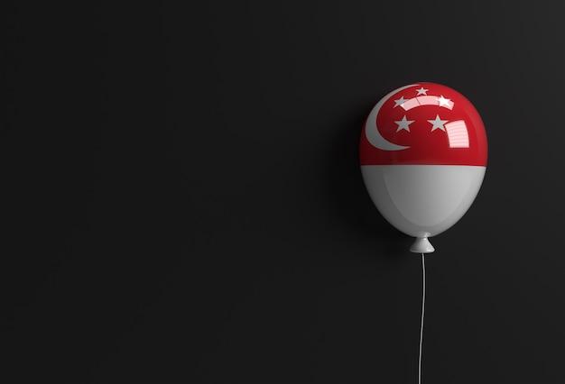 3d 렌더링 9일 싱가포르 독립 기념일 배너 싱가포르 국기 풍선.