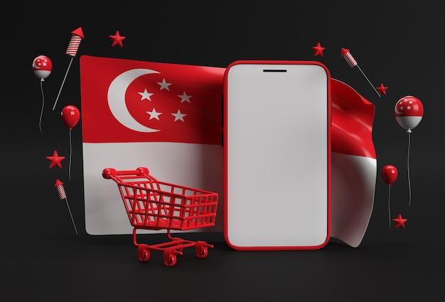 3d 렌더링 9번째 싱가포르 독립 기념일 배너에는 쇼핑 카트와 스마트폰 모형이 싱가포르 국기에 있습니다.
