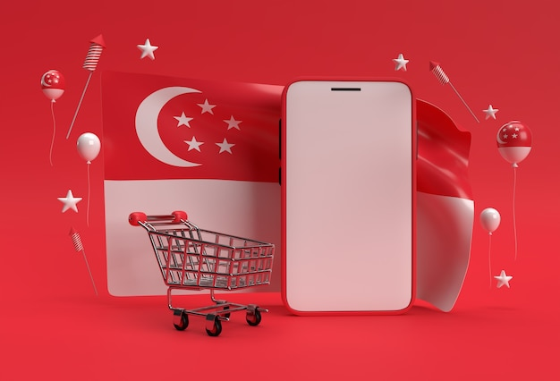 3d render 9th singapore's independence day banner with shopping cart and smartphone mockup on singapore flag.
